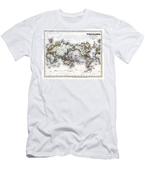 1850 Antique World Map Welt Karte In Mercators Projektion Men's T-Shirt (Slim Fit) by Karon Melillo DeVega