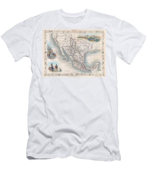 1851 Tallis Map Of Mexico Texas And California  Men's T-Shirt (Athletic Fit)