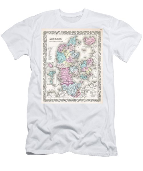 1855 Colton Map Of Denmark Men's T-Shirt (Athletic Fit)