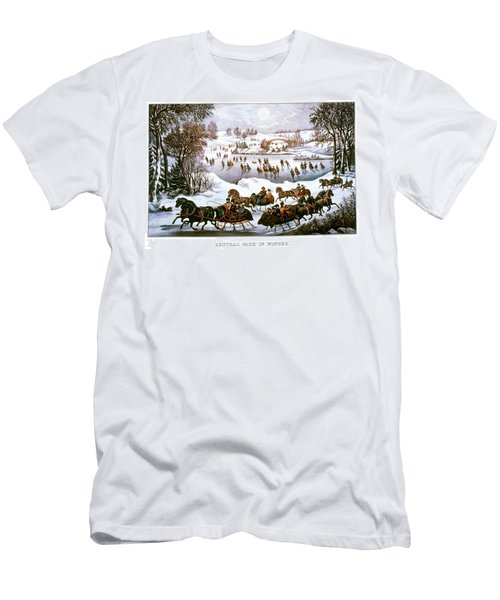 1860s Central Park In Winter - New York Men's T-Shirt (Athletic Fit)
