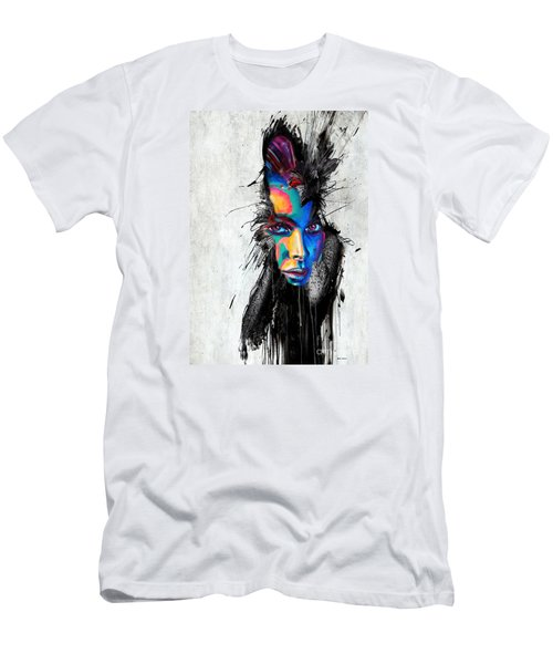 Men's T-Shirt (Slim Fit) featuring the painting Facial Expressions by Rafael Salazar