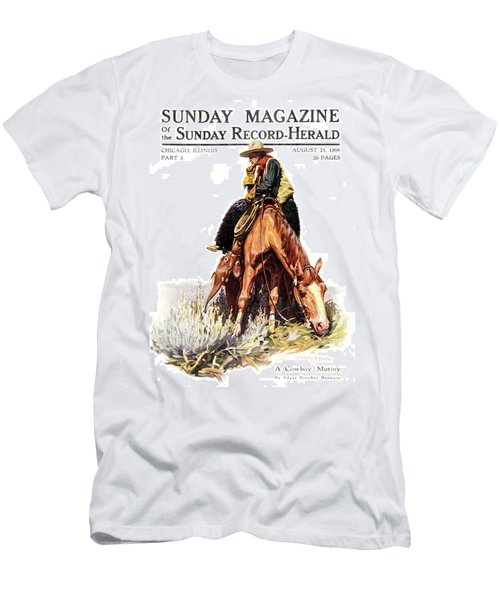 1900s Sunday Magazine Cover Lone Cowboy Men's T-Shirt (Athletic Fit)