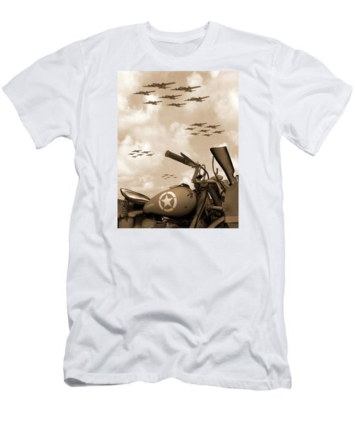 1942 Indian 841 - B-17 Flying Fortress' Men's T-Shirt (Slim Fit) by Mike McGlothlen