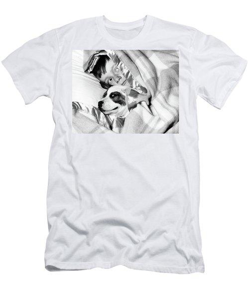 1950s Boy Hiding Under Blanket In Bed Men's T-Shirt (Athletic Fit)