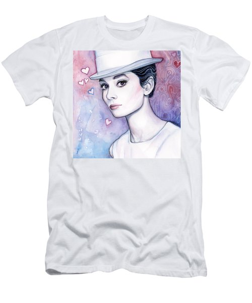 Audrey Hepburn Fashion Watercolor Men's T-Shirt (Slim Fit) by Olga Shvartsur