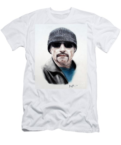 Men's T-Shirt (Slim Fit) featuring the mixed media John Travolta In The Taking Of Pelham 123  by Jim Fitzpatrick