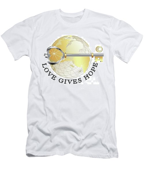 Men's T-Shirt (Athletic Fit) featuring the digital art Love Gives Hope by Laurie L
