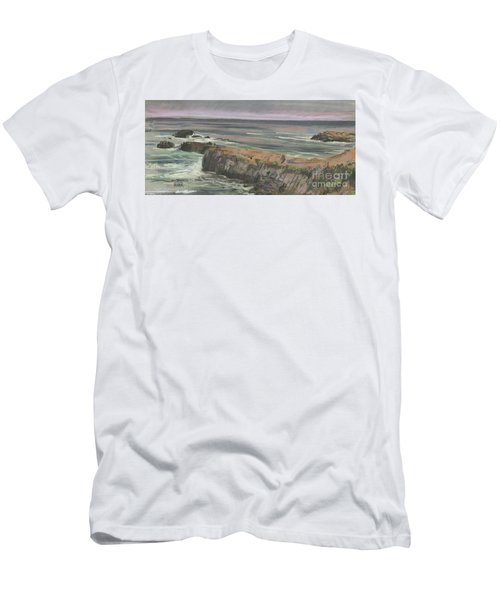 Men's T-Shirt (Slim Fit) featuring the painting Pescadero Beach by Donald Maier
