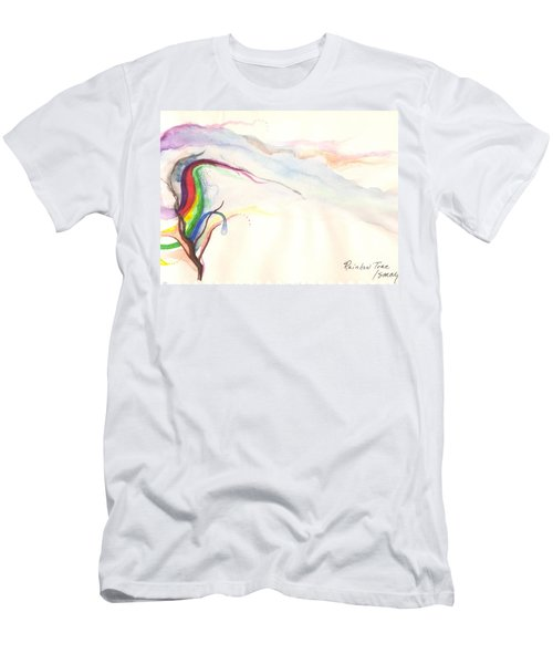 Men's T-Shirt (Athletic Fit) featuring the painting Rainbow Tree by Rod Ismay
