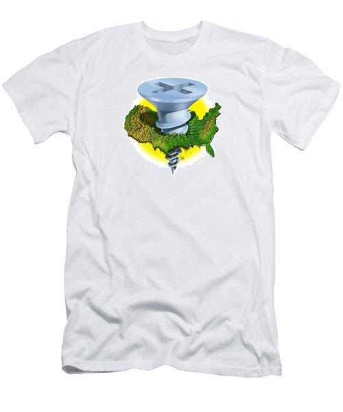 Men's T-Shirt (Slim Fit) featuring the digital art Screwed by Scott Ross