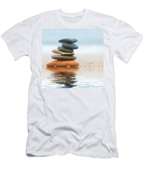 Stack Of Beach Stones On Sand Men's T-Shirt (Athletic Fit)