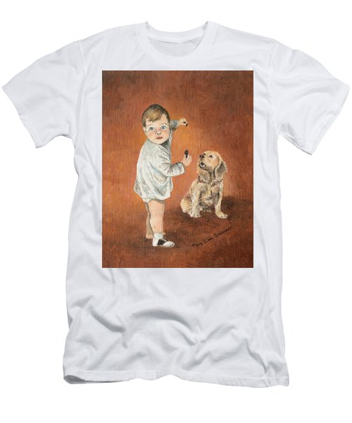 Men's T-Shirt (Slim Fit) featuring the painting The Guilty Ones by Mary Ellen Anderson