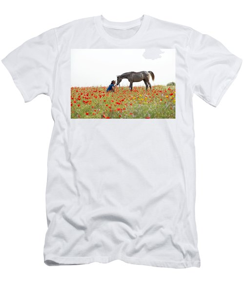 Three At The Poppies' Field... 4 Men's T-Shirt (Slim Fit) by Dubi Roman