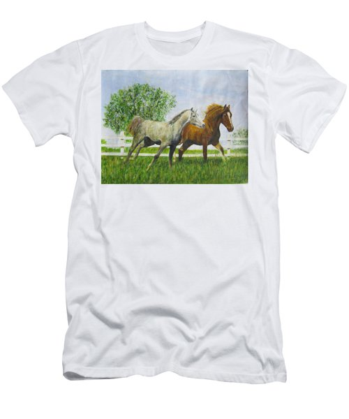 Two Horses Running By White Picket Fence Men's T-Shirt (Athletic Fit)