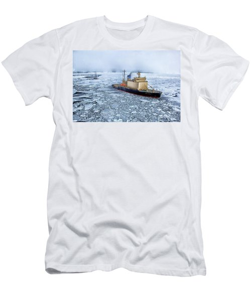 Men's T-Shirt (Slim Fit) featuring the photograph Arctic Sea Ocean Water Antarctica Winter Snow by Paul Fearn