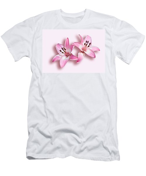 Spray Of Pink Lilies Men's T-Shirt (Slim Fit) by Jane McIlroy