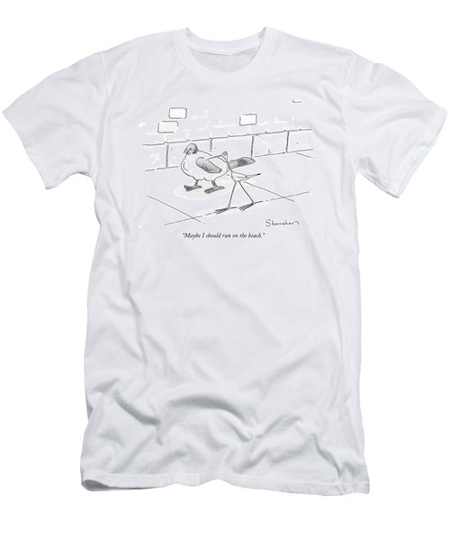 Maybe I Should Run On The Beach Men's T-Shirt (Athletic Fit)