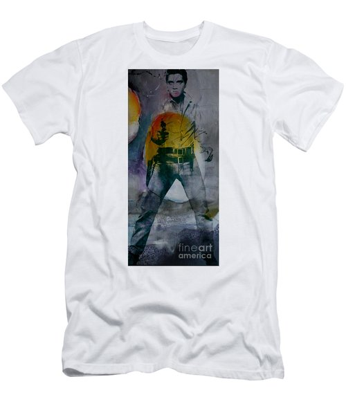 Men's T-Shirt (Slim Fit) featuring the mixed media Elvis by Marvin Blaine