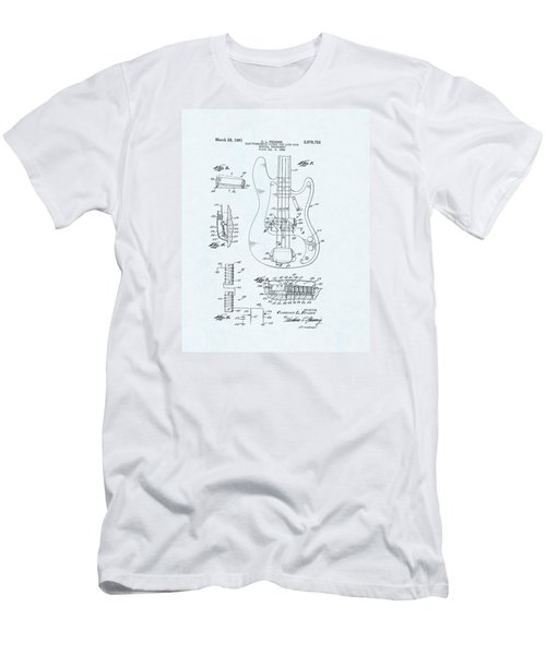 Guitar Patent Drawing On Blue Background Men's T-Shirt (Athletic Fit)