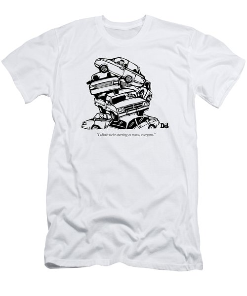 6 Cars Pile On Top Of One Another Men's T-Shirt (Athletic Fit)