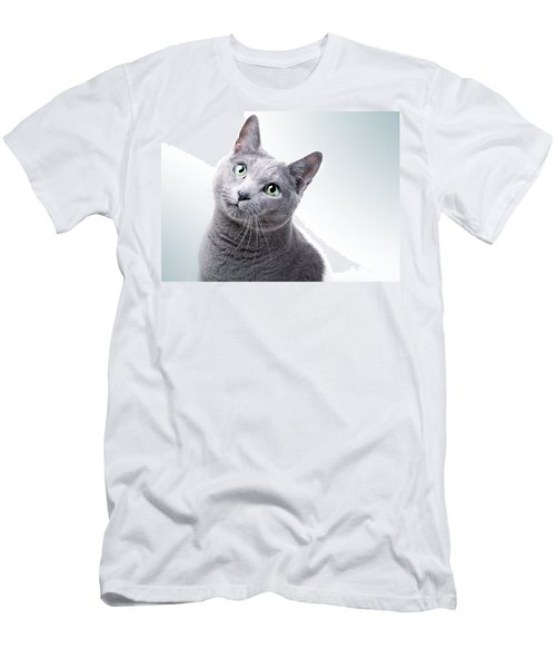 Russian Blue Cat Men's T-Shirt (Athletic Fit)