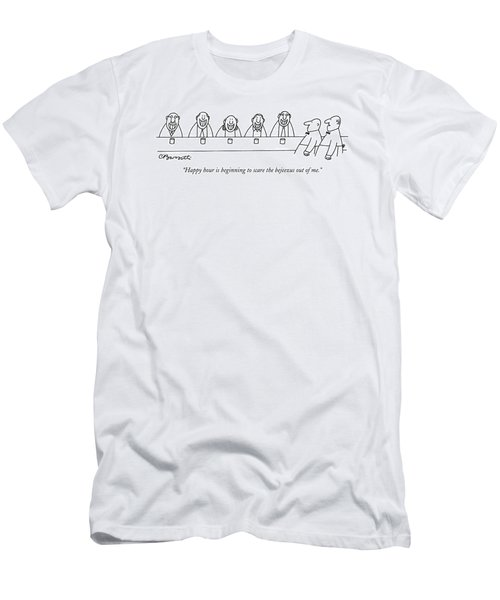 Happy Hour Is Beginning To Scare The Bejeezus Men's T-Shirt (Athletic Fit)