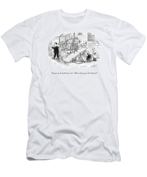 He Goes To The Bathroom A Lot.  Where Did You Get Men's T-Shirt (Athletic Fit)