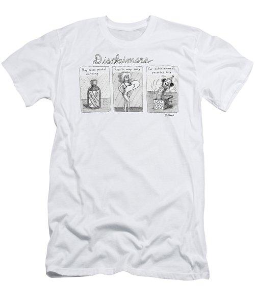 A 3 Panel Cartoon Of Disclaimers Involving A Jar Men's T-Shirt (Athletic Fit)