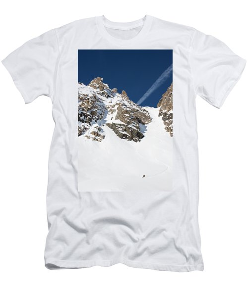 A Backcountry Skier Turns In The Fourth Men's T-Shirt (Athletic Fit)