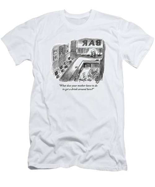 A Bartender Cleans A Glass. At The Other End Men's T-Shirt (Athletic Fit)