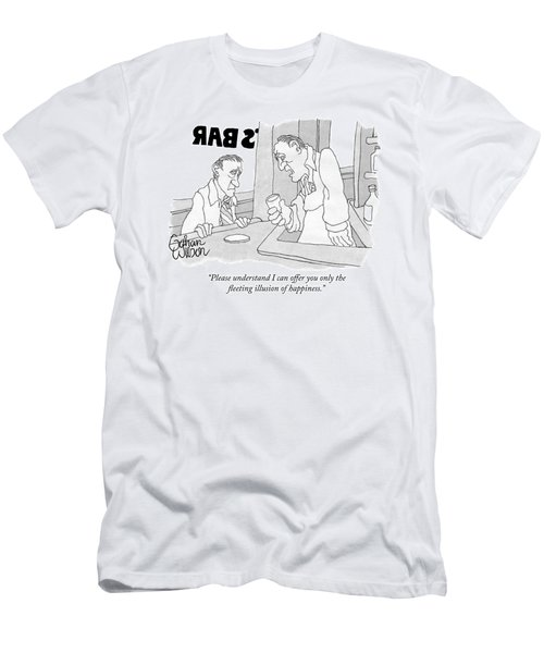 A Bartender Holding A Glass Speaks To A Customer Men's T-Shirt (Athletic Fit)