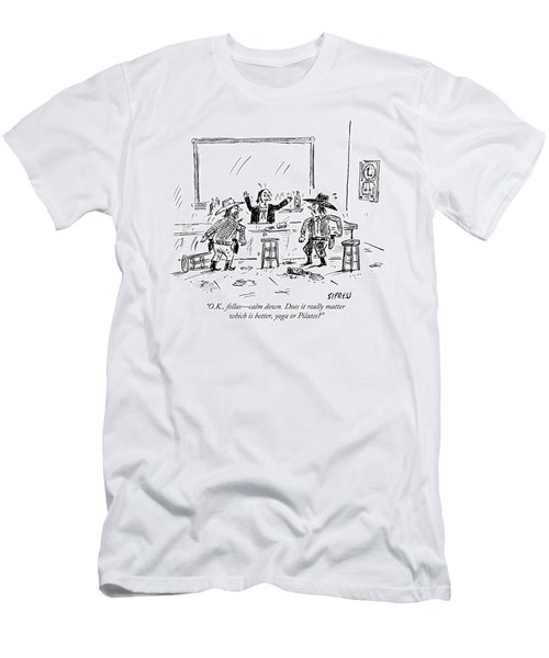 A Bartender In A Saloon Looks Alarmed As Two Men's T-Shirt (Athletic Fit)