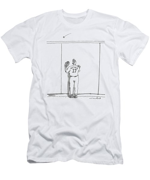 A Baseball Player Watches A Ball Fly Over A Wall Men's T-Shirt (Athletic Fit)
