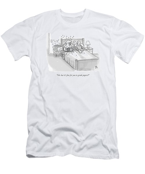 A Beekeeper Surrounded By Bees Is Sitting In Bed Men's T-Shirt (Athletic Fit)