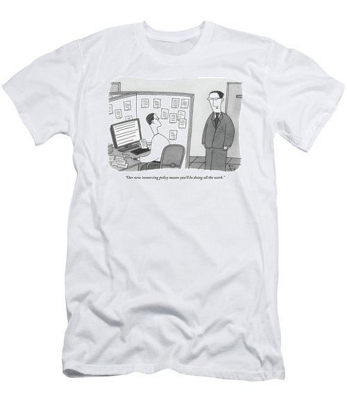 A Boss Speaks To A Man In His Cubicle As The Man Men's T-Shirt (Athletic Fit)