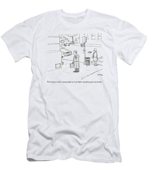 A Businessman Standing On A Street Corner Talks Men's T-Shirt (Athletic Fit)