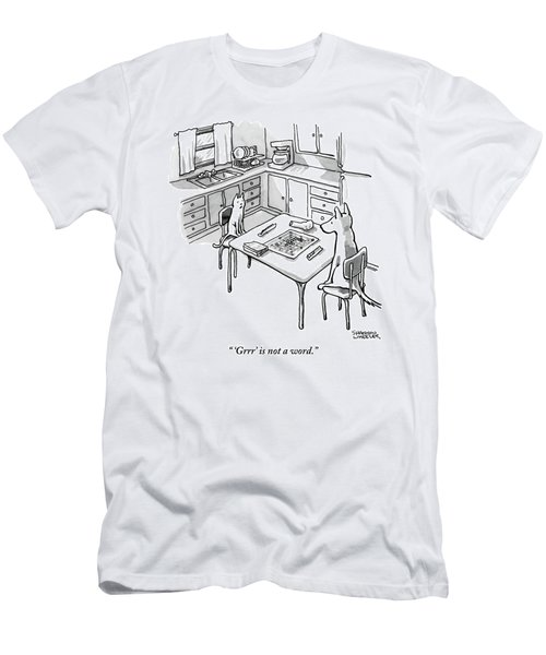 A Cat And Dog Play Scrabble In A Kitchen. 'grrr' Men's T-Shirt (Athletic Fit)