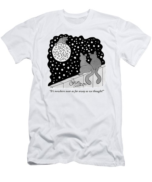 A Cat Climbing On The Moon Shouts To Two Cats Men's T-Shirt (Athletic Fit)