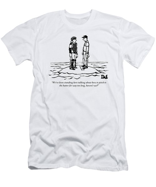 A Catcher And Pitcher Hold A Conference Men's T-Shirt (Athletic Fit)