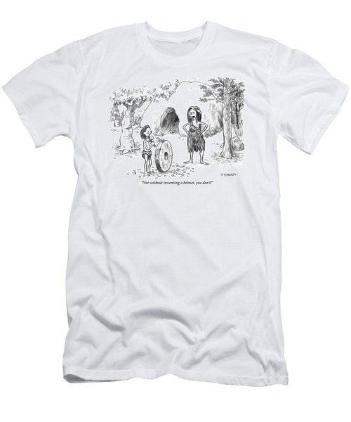 A Cave Woman Addresses Her Son Men's T-Shirt (Athletic Fit)