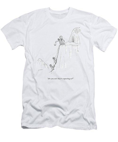 A Caveman And Woman Climb Up A Cliff Men's T-Shirt (Athletic Fit)
