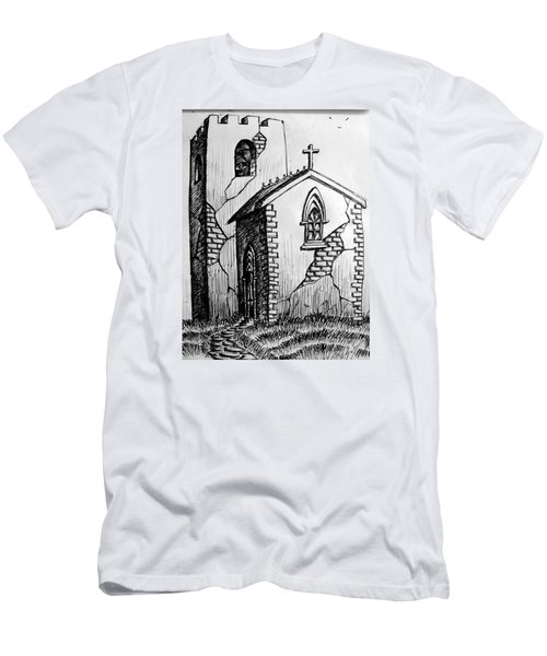Men's T-Shirt (Slim Fit) featuring the painting Old Church by Salman Ravish