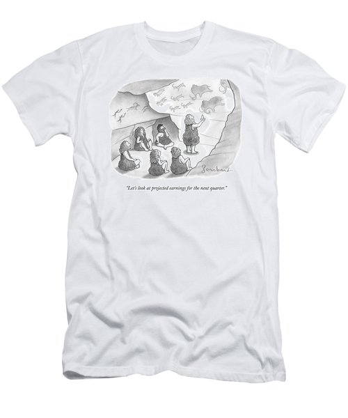 A Circle Of Cavemen Sit Around One Caveman Who Men's T-Shirt (Athletic Fit)