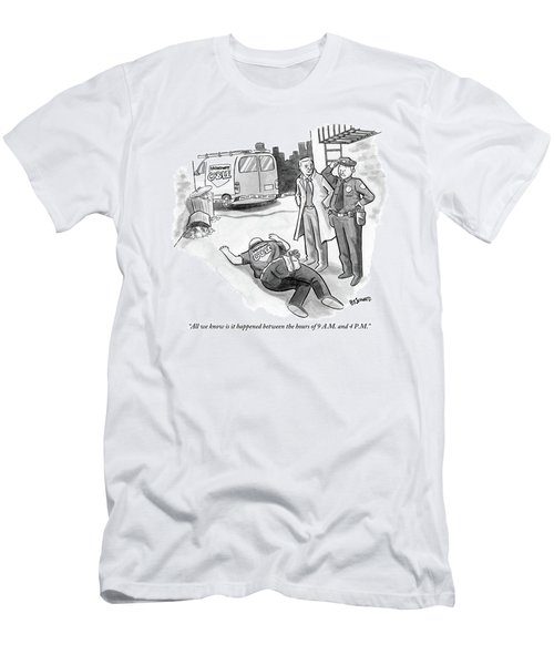 A Cop And A Detective Stand Over The Face-down Men's T-Shirt (Athletic Fit)