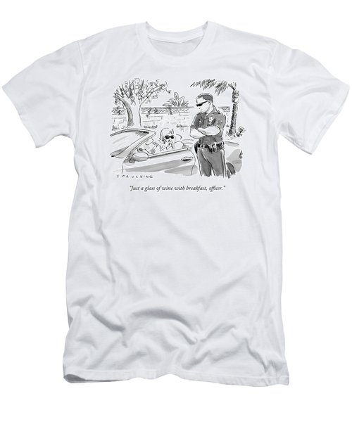 A Cop Pulling Over A Pretty Blonde Woman Men's T-Shirt (Athletic Fit)