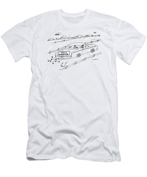 A Couple Driving A Car With A Still Married Sign Men's T-Shirt (Athletic Fit)