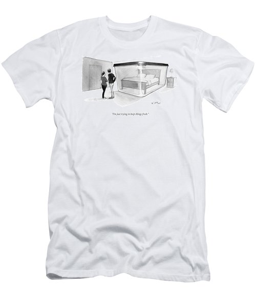 A Couple Looks At A Bed Encased In A Giant Men's T-Shirt (Athletic Fit)