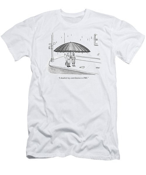 A Couple Under A Gigantic Umbrella On A City Men's T-Shirt (Athletic Fit)