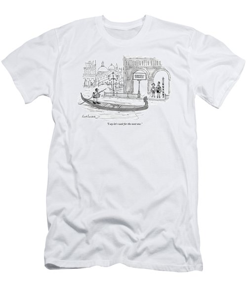 A Couple Waits Beside A Canal In Venice Men's T-Shirt (Athletic Fit)