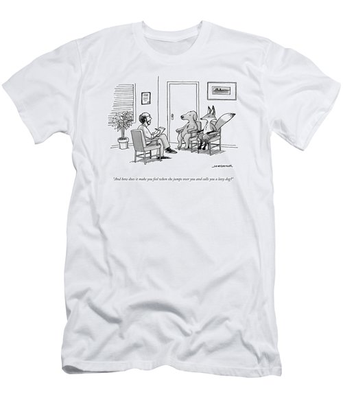 A Couples Therapist Speaks To A Fox And A Dog Men's T-Shirt (Athletic Fit)